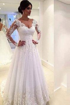 Robe de mariée naturel avec manche longue cordon textile en tulle de mode de bal