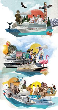 Why should you go on a cruise this year? Nazario Graziano answers in his own way by creating for Redbook magazine 3 photocollages rich in co