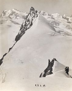 1321114. Five climbers ascend the Rimpfischhorn in the Pennine Alps. - NG Stock Photography #mountain #swiss #white #snow #black #photography #and