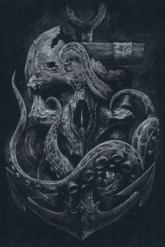THE LOCKER Custom Print Octopus Skull Anchor Black by grabinkART