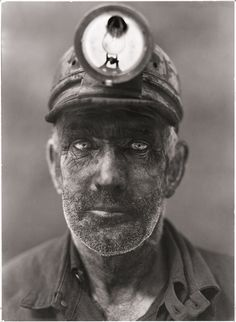 A close up portrait of a coal miner in Omar, West Virginia, 1938.Photograph by B. Anthony Stewart, National Geographic #miner #photography #portrait #vintage #coal #america