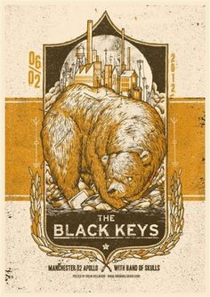 GigPosters.com - Band Of Skulls - Black Keys, The #print #texture #black #illustration #poster #bear #keys