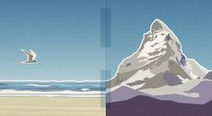 Dutch Design Meets Swiss Design #mountain #seagull #landscape #digital #illustration #beach #drawing #matterhorn