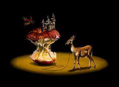 Jacub Gagnon with his deer animal art
