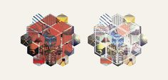 symbol sketches for one project #illustration #collage #cube