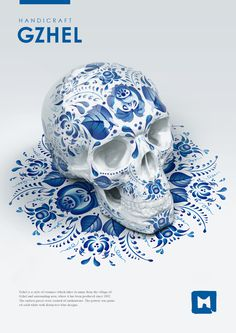 Styles of russian folk painting on Behance #skull #skulls