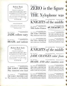 Bodoni Book type specimen