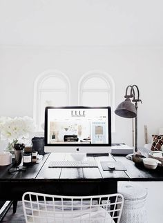 THE STYLE FILES by Danielle – The Black and Beige #home office #workspace #desk #minimal #black and white