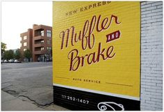 New Express Muffler & Brake hand lettered by Visual Armory (Andy Luce) #painted #drawn #hand #typography