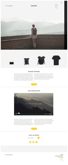 Takuro Apparel - homepage layout design