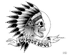 No love lost, no love found #illustration #indian #detailed #skull #native