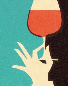 Hand Holding Glass of Wine #color #3 #illustration #vintage #hand