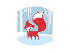 winter fox on the move. #fox #winter #illustration #graphic