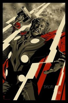 Mondo 'Avengers' Poster Premiere: Behold the Mighty Thor! | Movie News | Movies.com #thor #screenprint #poster #mondo