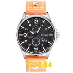CURREN #8164 #Men's #Leather #Strap #Large #Dial #Quartz #Watch #Waterproof #- #ORANGE #SALMON