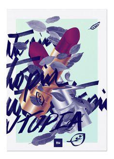 U T O P I C on Behance #utopia #blankhiss #maandesign #fresh #bold #maan #utopic #caligraphy #illustration #lipstick #leafs