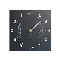 The Recycled Tide Clock provides a conveneint guide to tide times and tidal height at a glance. It features a Quartz driven hand that rotates every 12 hours and 25 minutes and a minimalist clock face that also shows how many hours remain until high or low water. Made in the UK using recycled paper packaging.