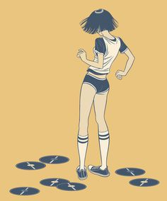 Dancing, Nick Dewar, indie art #vector #girl #design #discs #vinyl #illustration #art #music