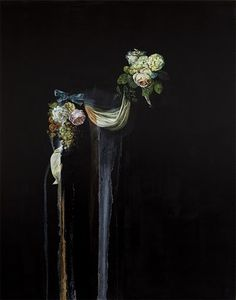 I need a guide: emma bennett #black #painting #flowers