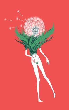 dandelion lady #illustration #figure #floral #dandelion