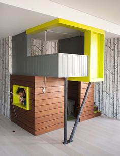 Kids play room with child house #interior #painting #art #kids #apartment #room