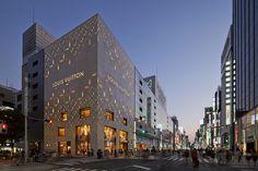 Flashy Louis Vuitton Store in Tokyo Displaying Original Pattern Cladding #lights #design #store #architecture #louis #vuitton #led