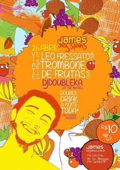 trombone e leo - marianapoczapski #illustration #colors #fruits #poster