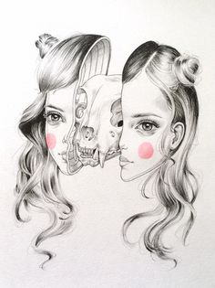 #skull #face #head #pencil #blush #illustration