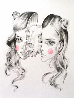 #skull #face #head #pencil #blush #illustration