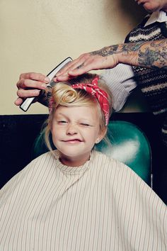 Fricken love this #girl #photo #kid #retro #child #hairstylist #hair #pin #tattoo #up #comb #hairstyle