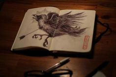 Sketch #draw #moleskine #raven #sketch