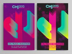 CMJ Music Marathon 2013 Max Kaplun #lettering #cmj2013 #nyc #poster #gradient #music #type #typography