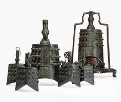 Six bells from Bronze in archaic style, with hard wood Stand