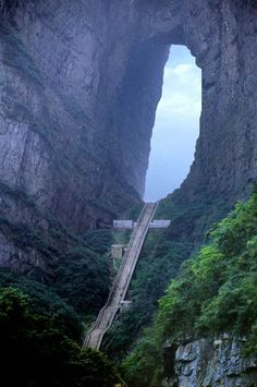 Heaven's stairs in Tian Men Shan, China