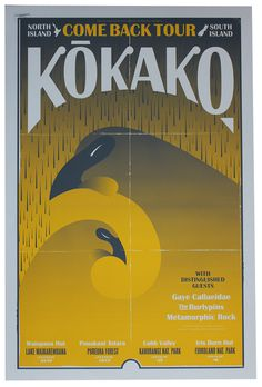 Kokako Come Back – Walter Hansen #zealand #design #bird #screeprint #poster #new