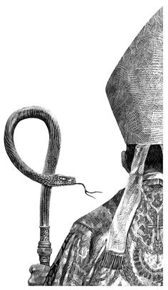 Designersgotoheaven.com Editorial Illustrationsby Ricardo Martinez. #priest #snake