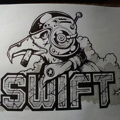 INKTOBER 2017 1.-SWIFT #inktober2017 #jakeparker #ink #swift #1 #illustration #bird #typo #typography #brake #aeronauticamilitare #sky #clo