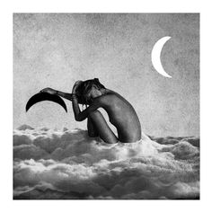 Trent Alexander Hernandez #print #design #girl #poster #abstract #moon #grayscale