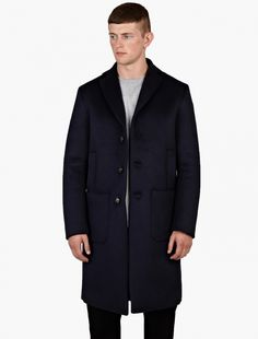 OAMC Navy bonded wool overcoat from Oki-ni