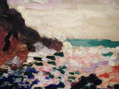 how i prefer to look at paintings (photographing them)detail from marine (la moulade), matisse (1906) #painting #art #texture