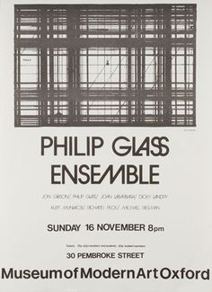 FFFFOUND! | Modern Art Oxford 50:50 | 41. Philip Glass Ensemble #type #poster
