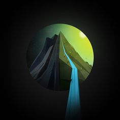 Watershed #mountain #illustration #joe #cavazos #waterfall