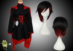 RWBY Ruby Rose Cosplay Costume Outfits + Wig #rose #costume #ruby #cosplay