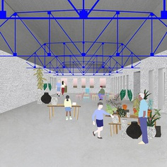 MIT Students Team With Nonprofit to Flip a Prison Into an Agricultural Community Center,The former group barracks is converted to a large space that can be used for meetings, lectures, classrooms or a dining hall. The metal roof trusses are exposed and painted bright blue to make the space taller and more playful. Image Courtesy of Group Project