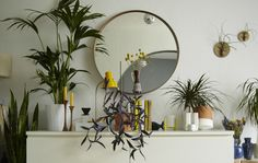 Home furnishing with plants and yellow hints, @ Igor's on www.happyinteriorblog.com
