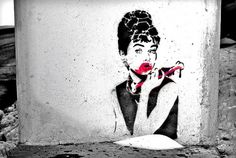 Zombie Hepburn | Flickr - Photo Sharing! #blood #hepburn #graffiti #stencil #art #street #zombie #audrey