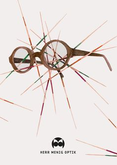 Ad illustration for Herr Menig Optik, an optician in Nürnberg Germany - www.philippzm.com #glasses #optician #illustration #ad #mikado #drawing