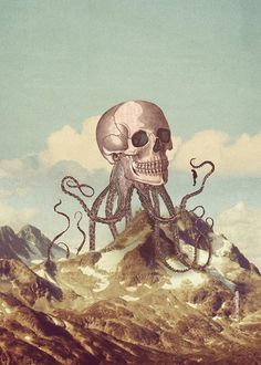Depression #clouds #suicide #sky #depression #octopus #poster #art #skull #death
