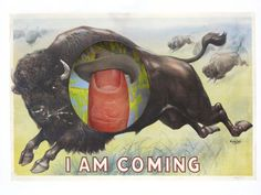 I Am Coming | Dan Bina #found #thumb #image #wood #art #cowboy #buffalo #collage #paper