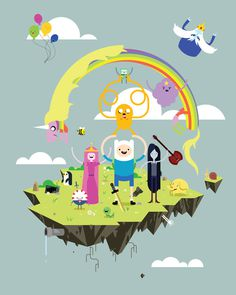 adventure time #adventure time #marceline #fin the human #jake the dog #lady rainicorn #princess bubblegun #ice king